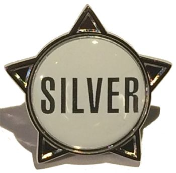 SILVER (text) star badge